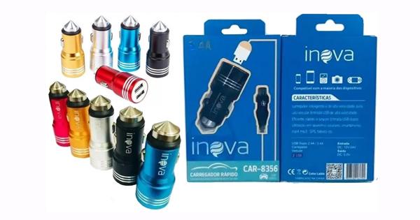 CARREGADOR DE CELULAR VEICULAR COM 1USB 2.4A + USB 3.4A INOVA CAR-G5156 COD:684975