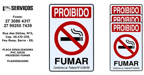 PLACA DE PVC 20X30 PROIBIDO FUMAR